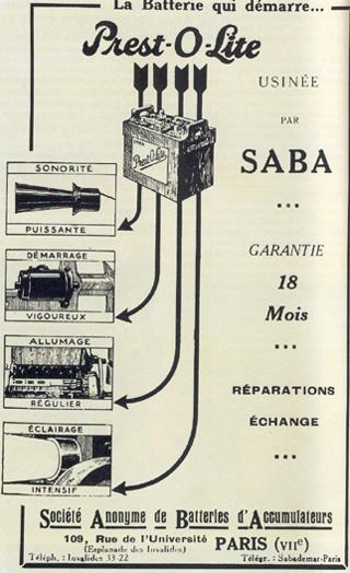 publicité batterie voitures anciennes